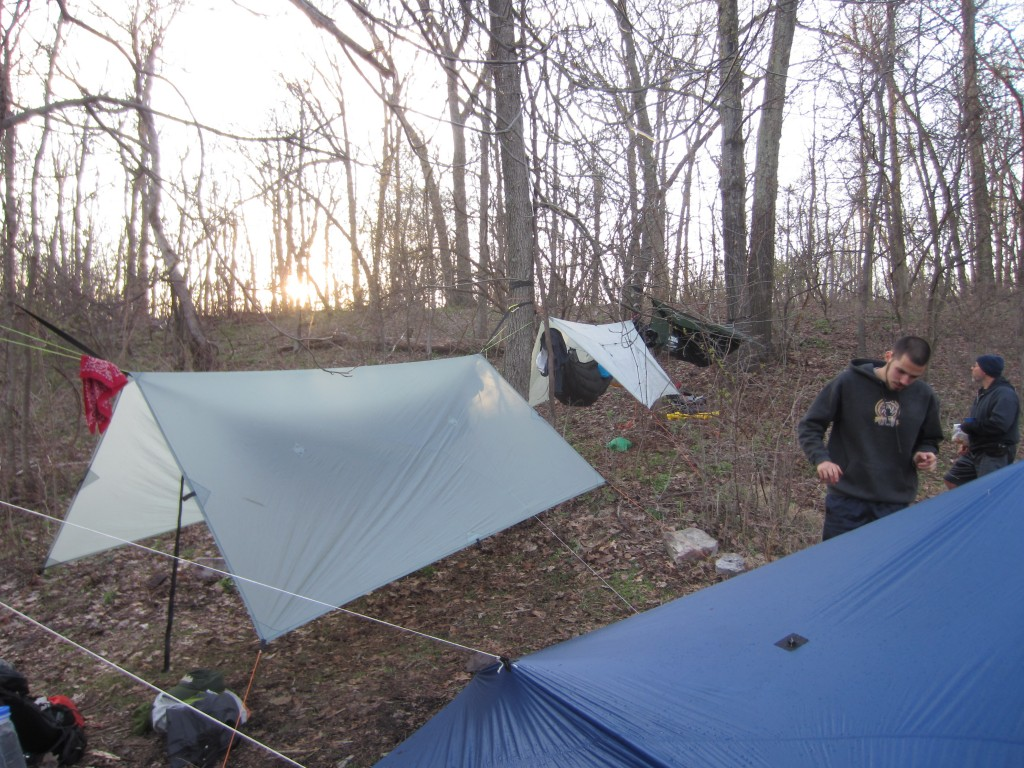 Three hammocks in a row, with the tarps down low