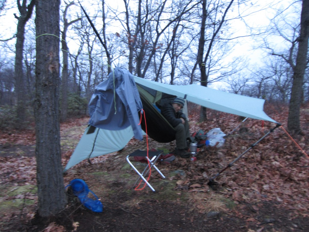 Under Paul's tarp in the rain