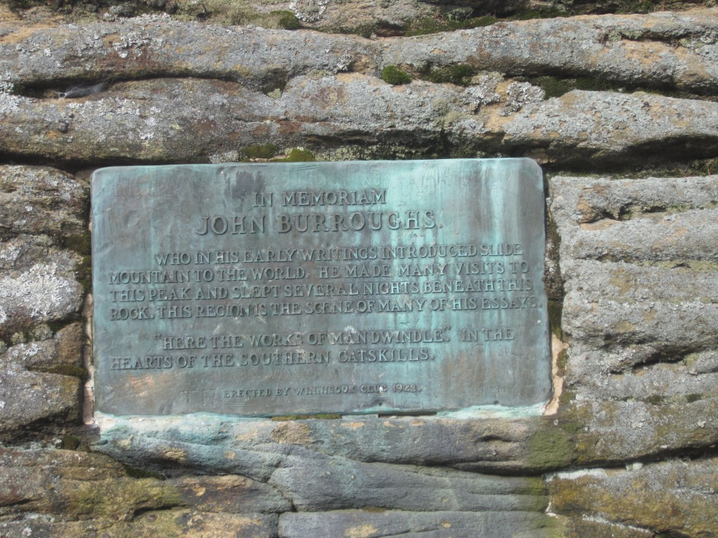 Burroughs plaque on Slide Mt.